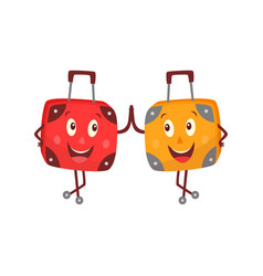Flat travel bag suitcase character smiling vector