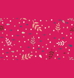 floral pattern with leaves and dots in minimal vector image