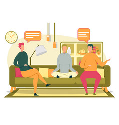 friends or roommates sitting and communicating vector image
