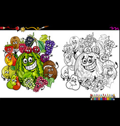 Fruit characters coloring page vector