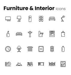 Furniture and interior icon set vector