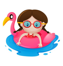 Girl in rubber float shaped like flamingo vector