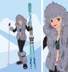 girl snowboard vector image