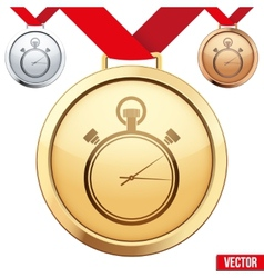Gold Medal with the symbol of a stopwatch inside vector image
