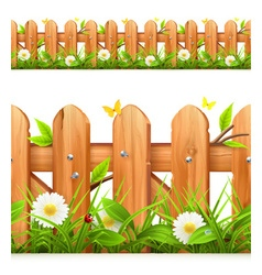 Grass and wooden fence seamless border vector image