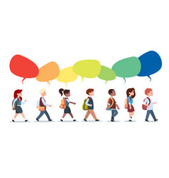 group of pupils mix race walking with chat bubbles vector image