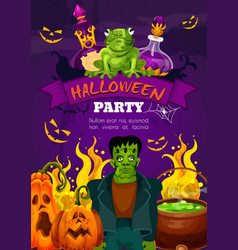 Halloween night party poster of zombie and pumpkin vector