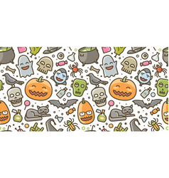 halloween party colorful seamless background vector image
