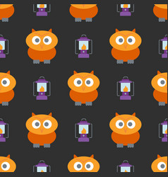 halloween seamless pattern with cute owl and vector image