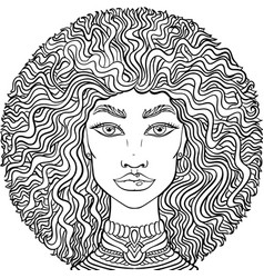 hand drawn doodle girlss face on white background vector image