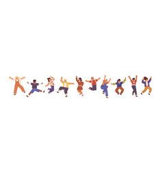 happy children jumping with raised hands vector image