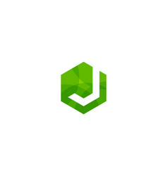 hexagon letter j logo icon design vector image