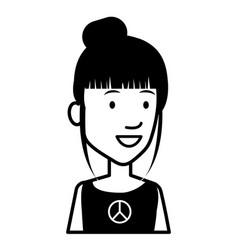 Hippie woman avatar character vector