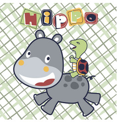 Hippo playing with turtle cartoon vector