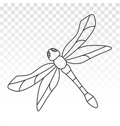 Insect dragonfly line art icon for apps or website vector