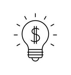 lightbulb with dollar symbol vector image