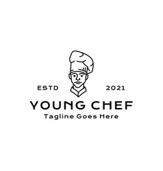 line art chef restaurant logo design inspiration vector image