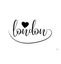 London typography text with love heart vector