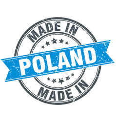 Made in poland blue round vintage stamp vector
