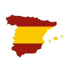 Map of Spain in Spanish flag colors icon vector