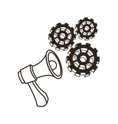 Megaphone and gears Communication design vector