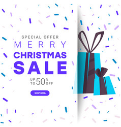 merry christmas sale background with multicolored vector image