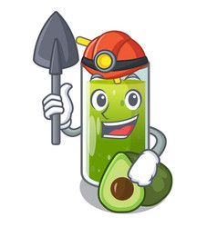 Miner avocado smoothies are isolated on characters vector