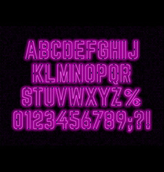 Neon pink font with numbers and punctuation marks vector