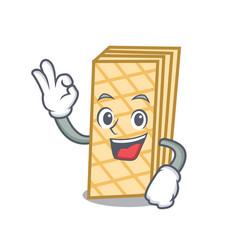 Okay waffle character cartoon style vector