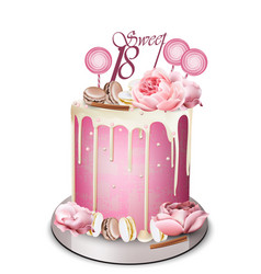 Pink cake with peony flowers on top vector
