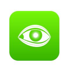 plastic surgery of eye icon digital green vector image