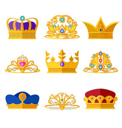 Princess diadems and golden crowns of kings and vector