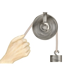 Pulley and hand vector