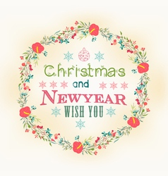 Retro christmas and new year card vector