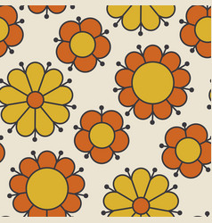 Retro orange and yellow color 60s flower motif vector