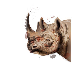 Rhino watercolor wildlife animal vector