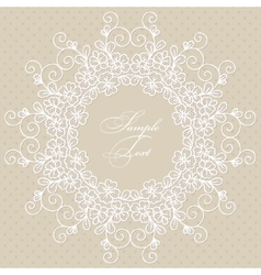 Round lace card vector