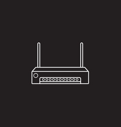 Router line icon outline logo vector