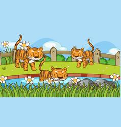 Scene with tigers in garden vector
