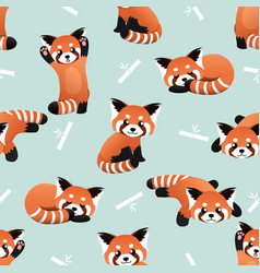 seamless cute red panda and bamboo pattern vector image