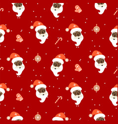 seamless red xmas pattern with santa and vector image
