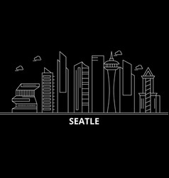 seattle city silhouette skyline usa - seattle vector image