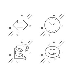 Seo stats sync and time icons set yummy smile vector