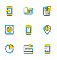 set 9 flat line business icons banking and vector image