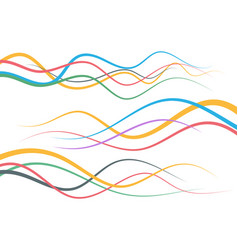 set of abstract color curved line vector image