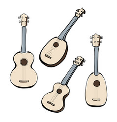 set of hand drawn ukuleles vector image