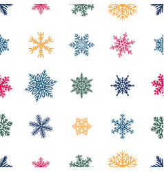 simple seamless pattern with hand drawn snowflakes vector image