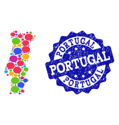 Social network map of portugal with speech clouds vector