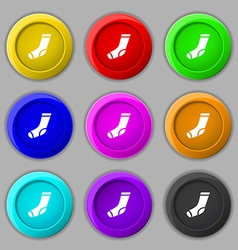 Socks icon sign symbol on nine round colourful vector