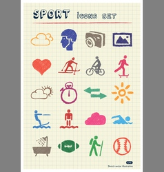 Sport web icons set drawn by color pencils vector